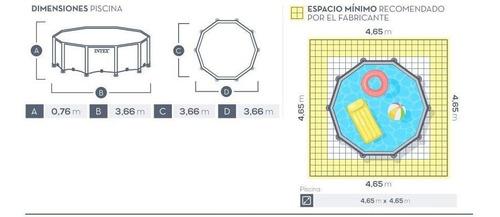 pileta estructural redonda intex metal frame 366x76cm 6503lt