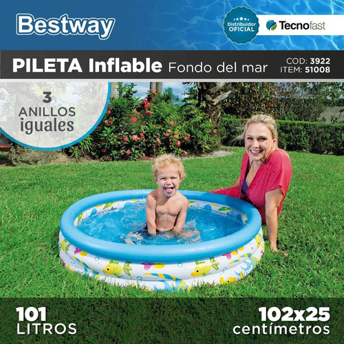 pileta infantil inflable bestway 102cm 3 aros oferta!