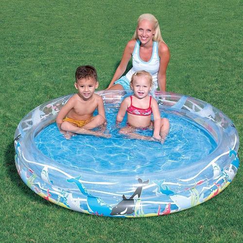 pileta inflable 2 aros 90cm vida marina / open-toys avell 55
