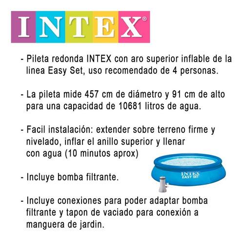 pileta inflable intex easy set con bomba 457x91cm / 10681lts