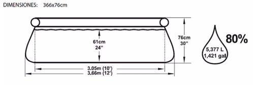 pileta inflable redonda bestway 366 x 76 filtro 57112 pc