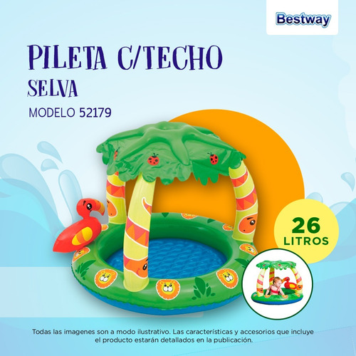pileta inflable techo selva bebes bestway 99 x91x71 52179 pc