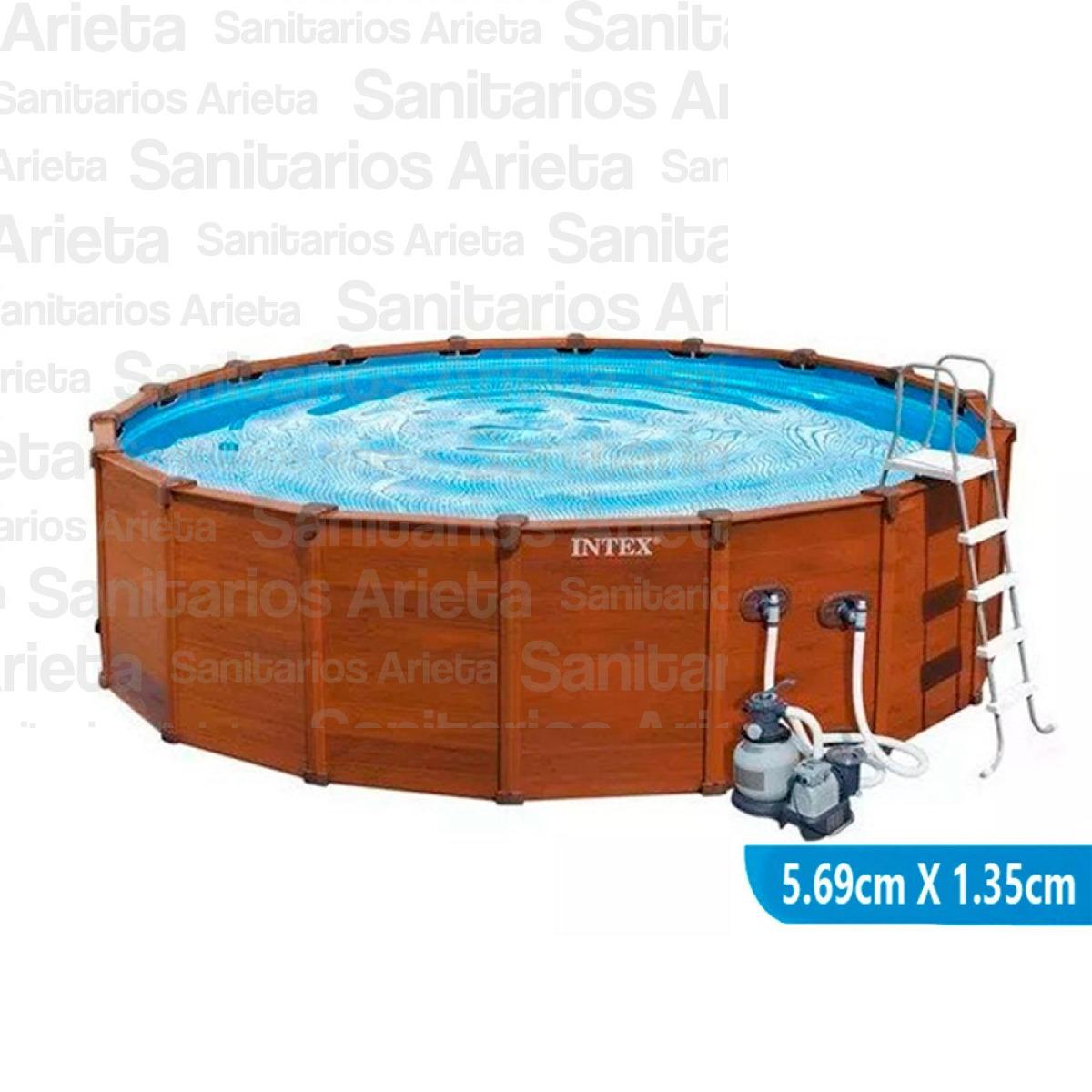 Pileta Intex Estructural Simil Madera 569 X 135 + Accesorios ...