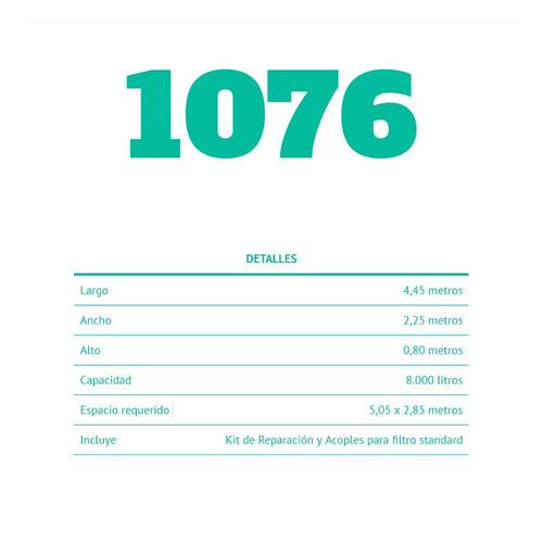 pileta pelopincho modelo 1076 4,45 x 2,25 x 0,80 8.000 lts