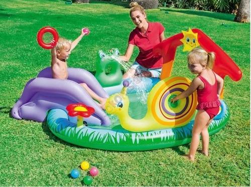 pileta pelotero inflable chicos juego tobogan caracol