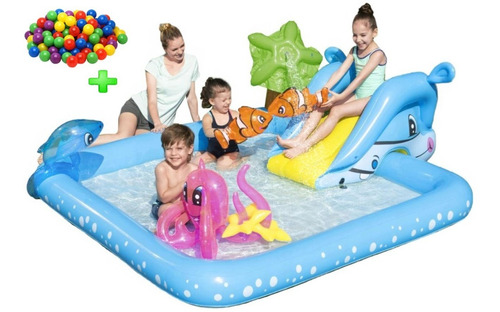 pileta pelotero inflable spray play center bestway + pelotas
