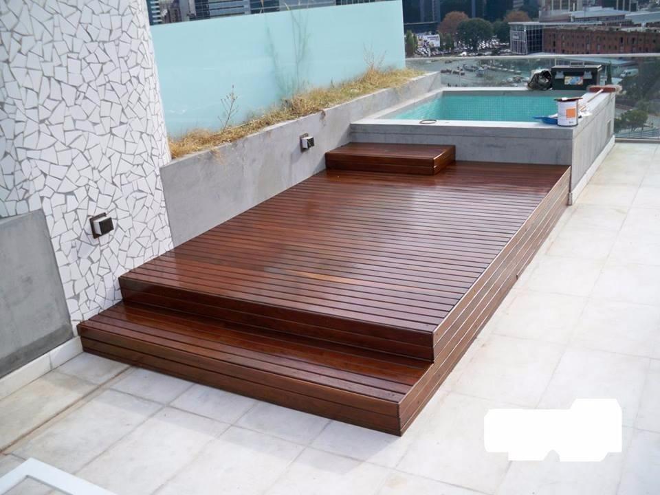 Piletas Fibra Deck Escalera Madera Para Exterior Por M2 60000 - Escaleras-de-madera-para-exteriores