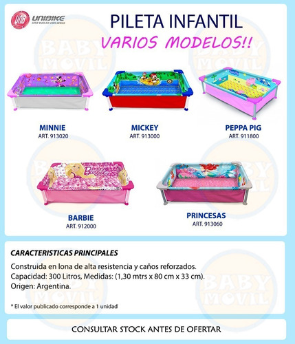 piletas pelopincho disney mickey minnie peppa 130x80 mt