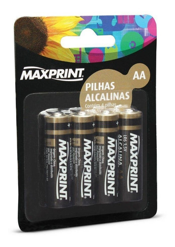 pilha alcalina aa pequena 4 un maxprint 75634-3