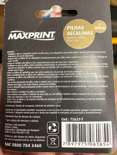 pilha alcalina maxprint 1.5v tipo c cart c/2 cx 10 cartelas