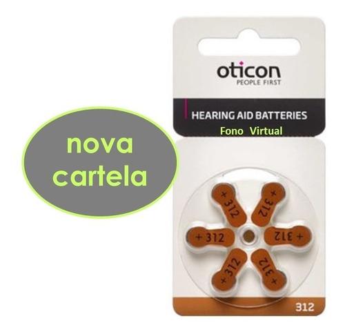 pilha aparelho auditivo 312 pr41 oticon 60 baterias original