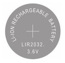 pilha botão cr2032 recarregavel 3.6v 40mah li-ion original