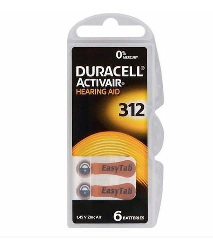 pilha para aparelho auditivo 312 duracell 60 und + silica