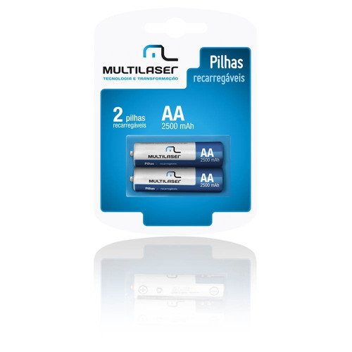 pilha recarregável aa 2500 mah 2 unidades cb053 multilaser