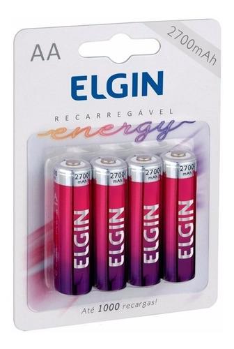 pilha recarregável elgin aa-2700 mah blister c/4
