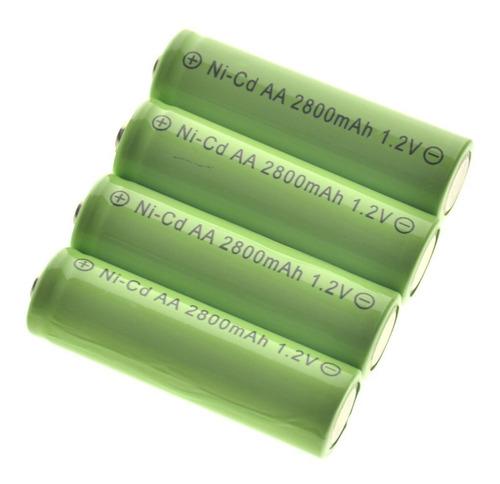pilha recarregável ni-cd 1.2v 2800mah - kit com 8 - verde