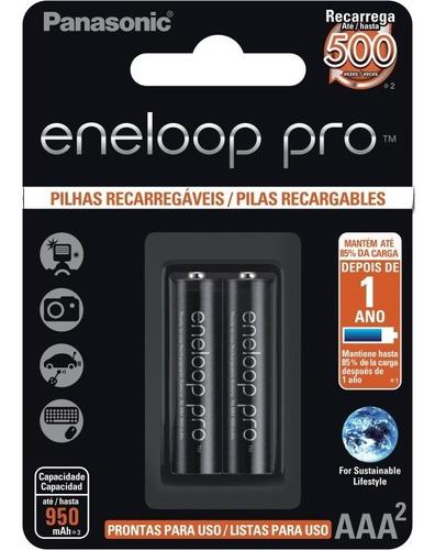 pilhas recarregável eneloop pro palito 1 cartela aaa ct c/02