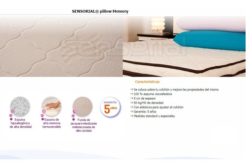 pillow top sensorial viscoelastico 140 x 190 10 cm espesor!
