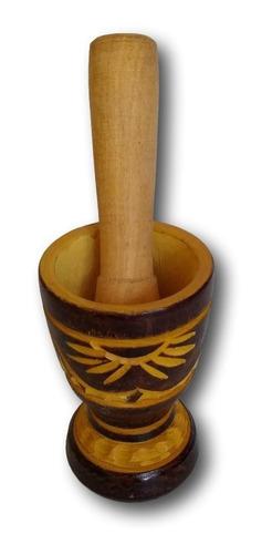 pilão - amassador  de tempero artesanal madeira ref: 0191