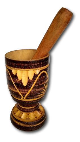 pilão - amassador  de tempero artesanal madeira ref: 9877