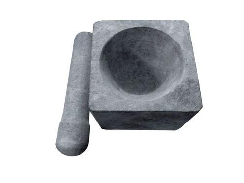 pilão quadrado em pedra sabão