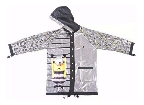 piloto de lluvia impermeable con capucha minions niños