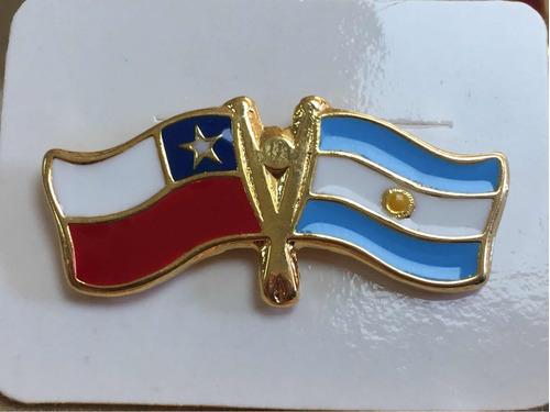 pin bandera chile y argentina entrelazadas