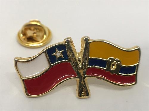 pin bandera chile y ecuador entrelazadas