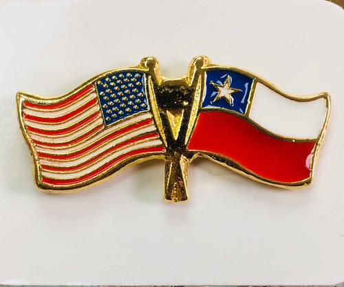 pin bandera estados unidos y chile entrelazadas