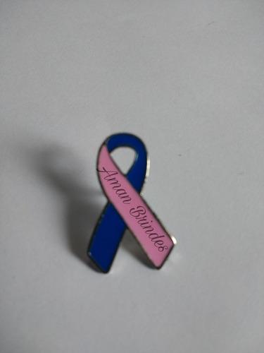 pin/ broche laço outubro rosa novembro azul