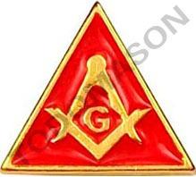 pin escuadra y compás triángulo rojo - masón, masonería