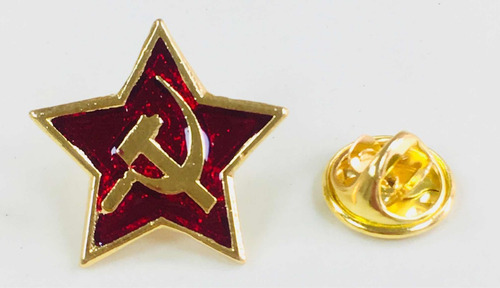 pin estrella roja símbolo comunista hoz y martillo