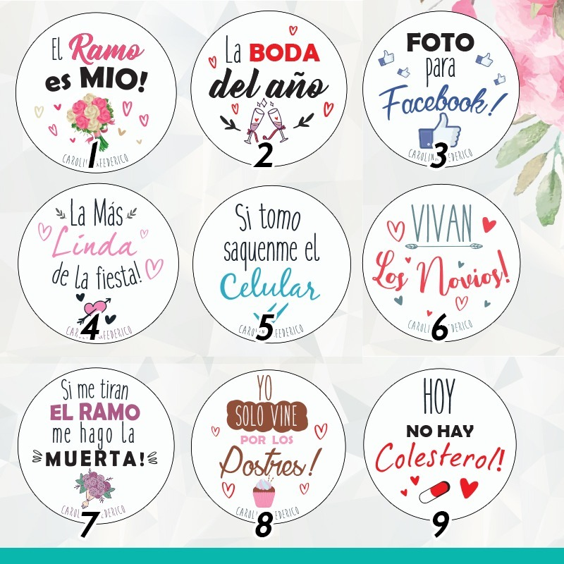 Pin Frases Divertidas Casamiento Souvenir Carnaval 55mm X50