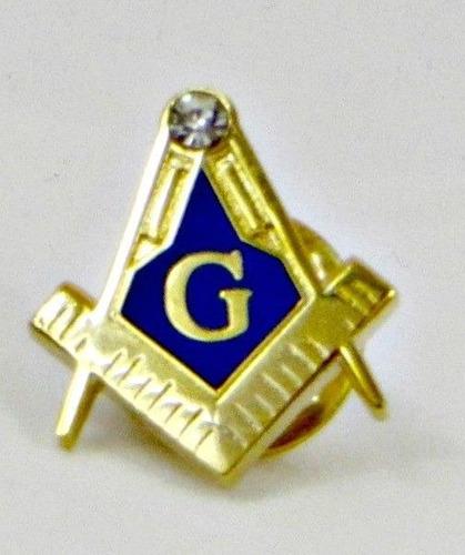pin masónico compás y escuadra, dorado con fondo azul, rc+