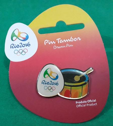 pin olímpico - rio 2016 - col samba - tambor - memorabilia