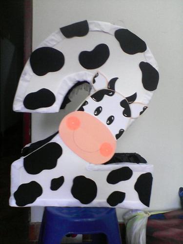 piñata  de numeros granja vaca