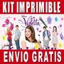 Kit Imprimible Violetta Diseña Invitaciones Y Tarjetas