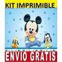 Kit Imprimible Bebe Mickey Diseña Invitaciones Y Tarjetas