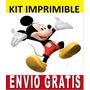 Kit Imprimible Mickey Mouse Diseña Invitaciones Y Tarjetas