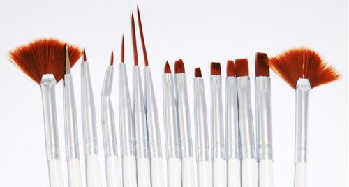 pincel macrilan unhas artísticas nail art kit c/ 15 pincéis