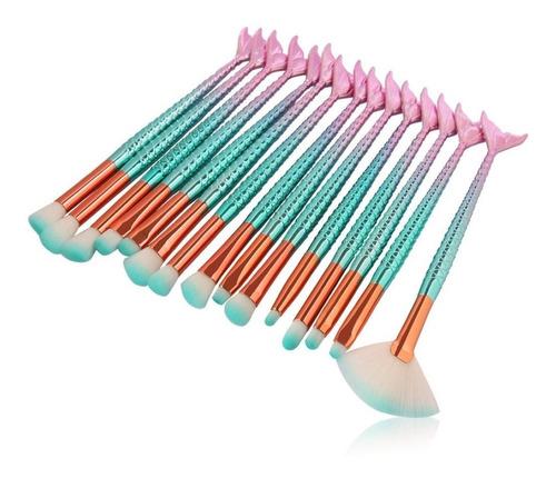 pincel para maquiagem 15 peças azul rosado