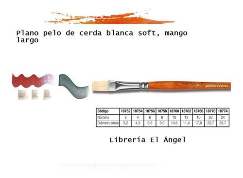 pincel plantec  8750 nº 10 cerda blanca soft mango largo