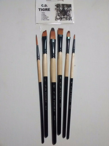 pinceles artisticos tigre 1 pulgada  mango dorado x 4 unid