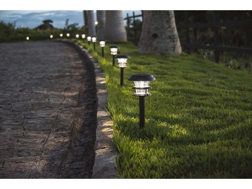 pincho farol solar grande de jardín con luz super led 44,5cm