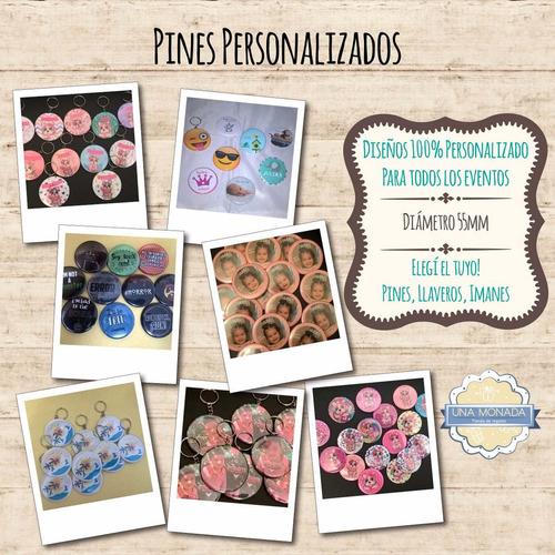 pines personalizados, prendedor, x 10u 55mm souvenir