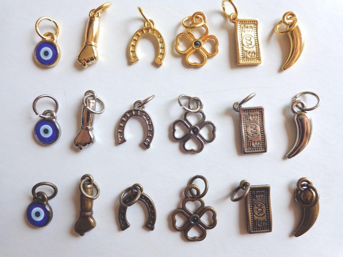 Pingente amuleto sorte olho grego figa trevo ferradura r - Como contrarrestar la mala suerte ...