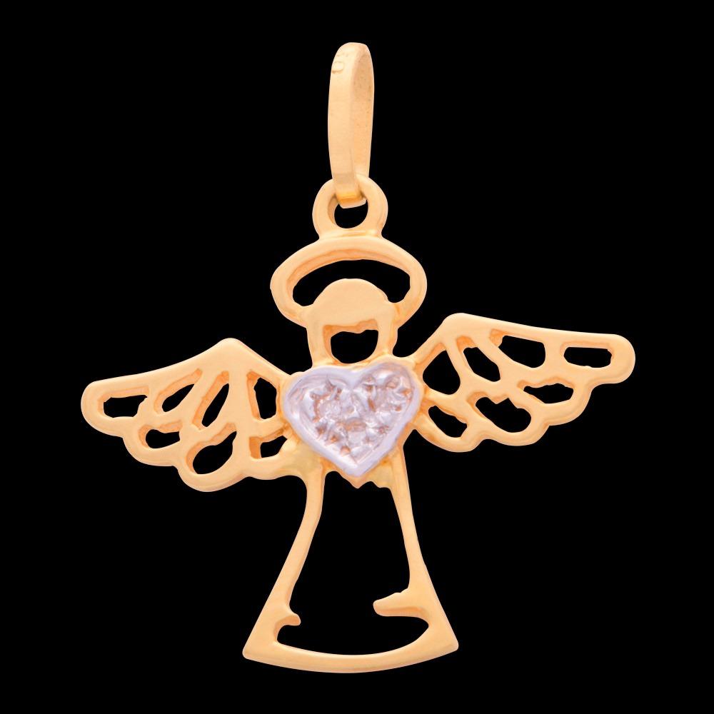 c2699b0daabab pingente anjo com brilhantes de asas abertas em ouro 18k. Carregando zoom.