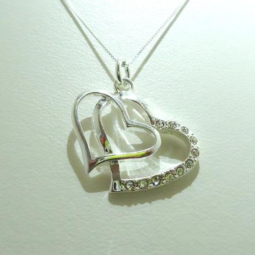 pingente banhado a prata corações com pedra zircônia