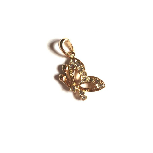 pingente borboleta banhado a ouro 18k com zirconias p21