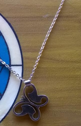 pingente borboleta + colar corrente em aço inox